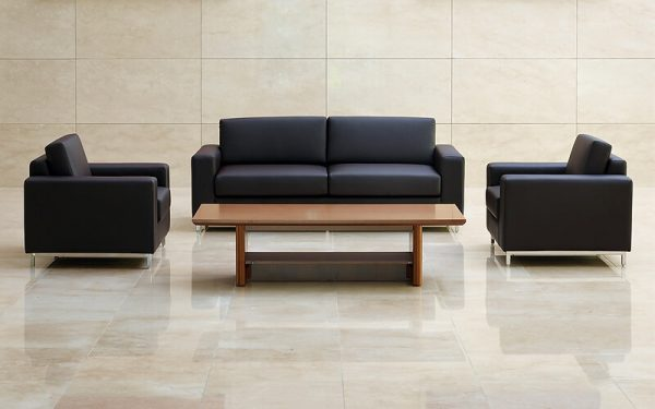 Luxdezine Black Sofa Wood Table