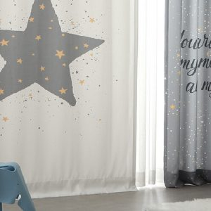 Luxdezine Blackout Curtains Gray Star