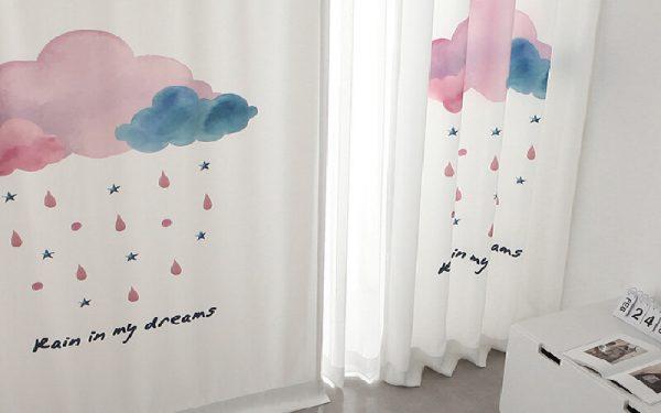 Luxdezine Blackout Curtains Water Color Rain
