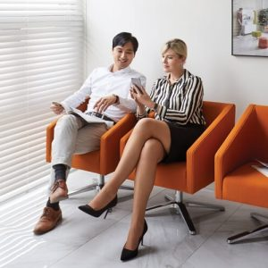Luxdezine Brown Sofa Man Woman Talking Sitting
