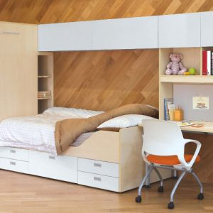 Luxdezine Dormitory Single Bed Table Chair Furniture Cabinet