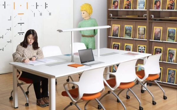 Luxdezine Library Table Chairs Girl Writing Furniture
