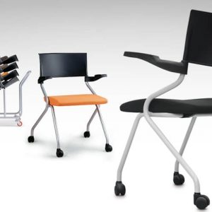 Luxdezine Multi Use Chair Black With Wheels Stack
