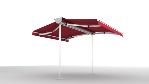 Luxdezine Plaza Awning 3D Red White Multi Fold