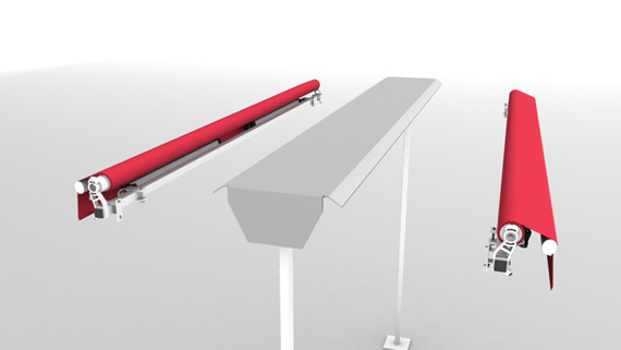 Luxdezine Plaza Awning 3D Red White Parts