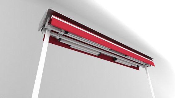 Luxdezine Plaza Awning White Red Folded