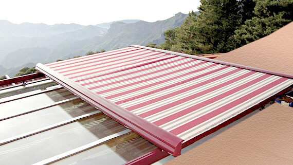 Luxdezine Sky Awning Outdoor White Red Glass Roof