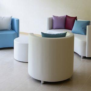 Luxdezine White Blue Round Sofa Table