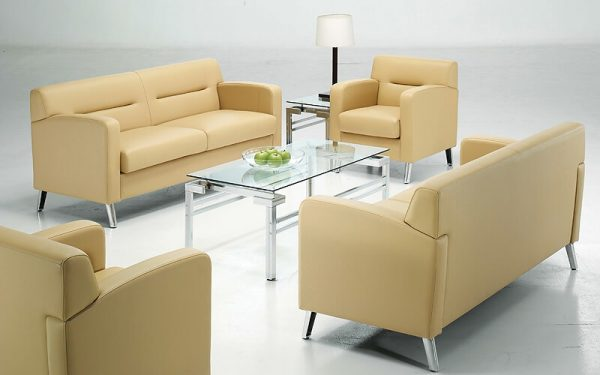 Luxdezine White Cream Sofa Set Glass Table