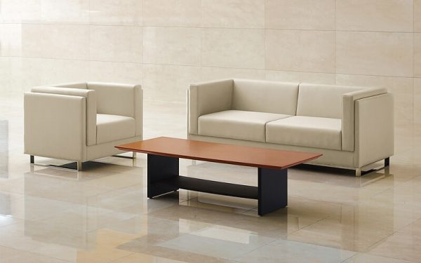 Luxdezine White Sofa Wood Table
