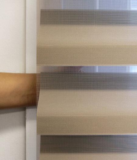 Luxdezine Window Blinds 3D Shade Privacy Brown Crop