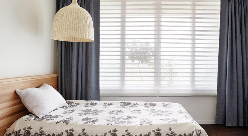 Luxdezine Window Blinds 3D Shade White Bedroom Side