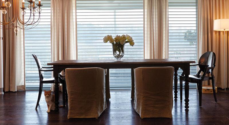 Luxdezine Window Blinds 3D Shade White Dining Room