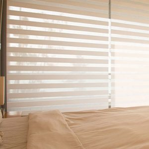 Luxdezine Window Blinds Combi Shades Bedroom White Close Half