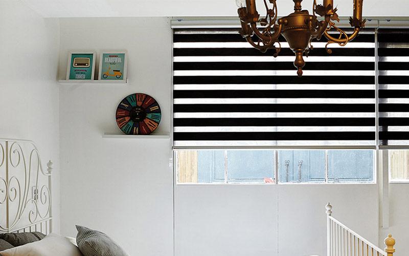 Luxdezine Window Blinds Combi Shades Black Bedroom Half Closed