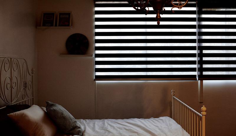 Luxdezine Window Blinds Combi Shades Black Bedroom Half Open