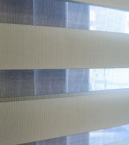 Luxdezine Window Blinds Combi Shades Interior Orange Open Half Sun Out