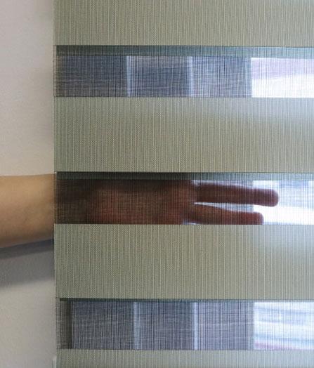 Luxdezine Window Blinds Combi Shades Interior Orange Open Hand