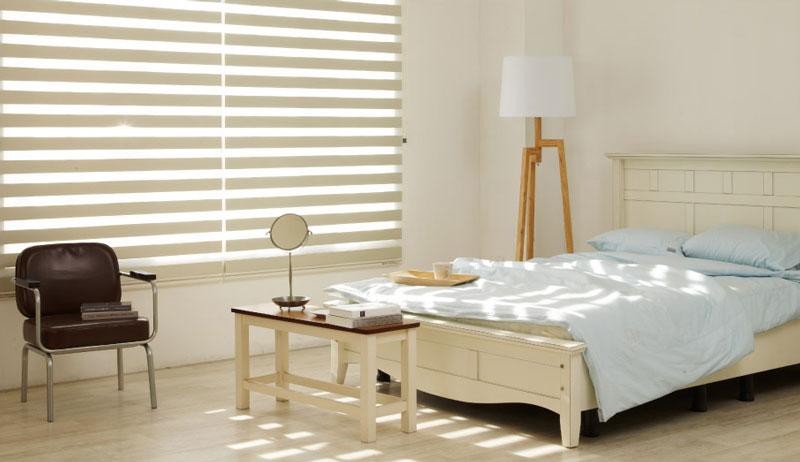 Luxdezine Window Blinds Combi Shades Modern Bedroom Half Open
