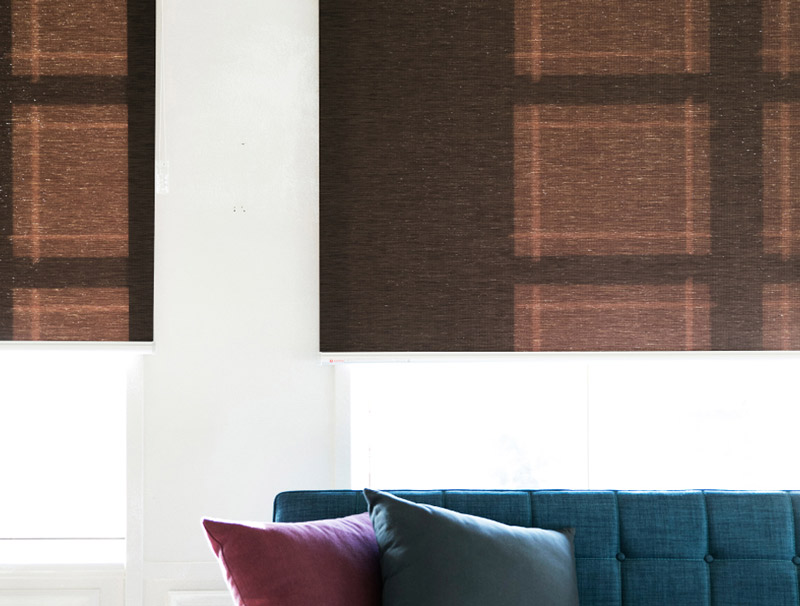 Luxdezine Window Blinds Roll Screen Shades Brown Wood Front