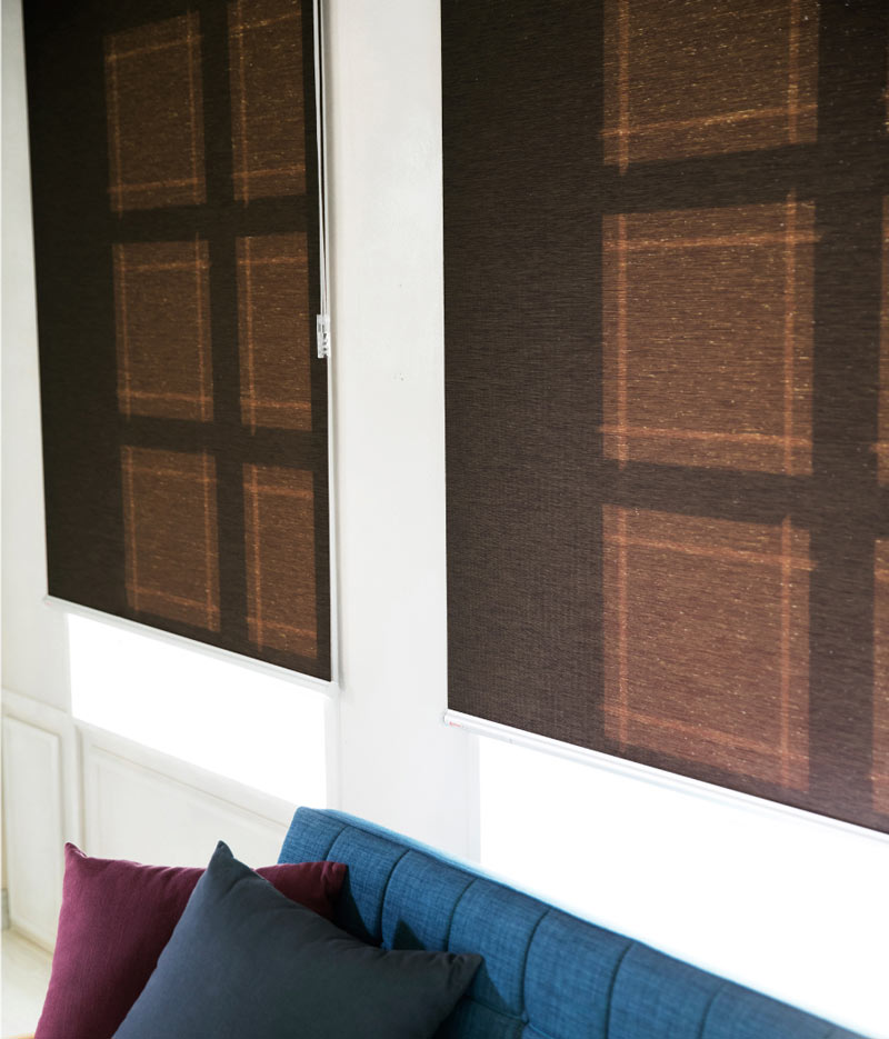 Luxdezine Window Blinds Roll Screen Shades Brown Wood Side