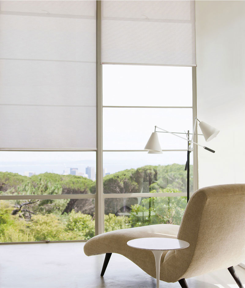 Luxdezine Window Blinds Roll Screen Shades Living Room White Zoom