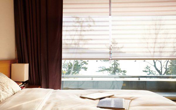 Luxdezine Window Blinds Roll Screen Shades White Front Modern