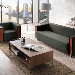 luxdezine Black Brown Sofa Wood Table
