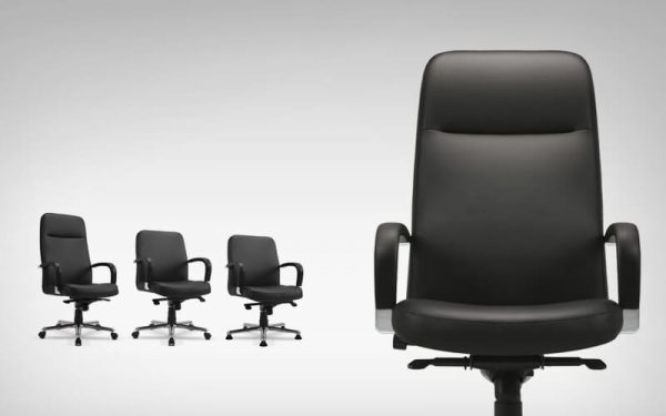 Luxdezine Black Leather 4 Executive Chair With Wheels