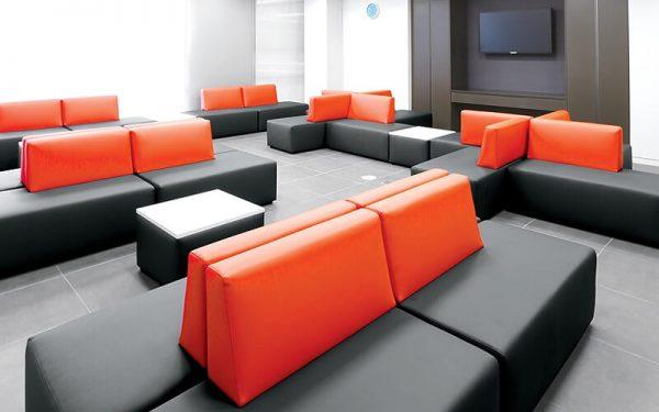 Luxdezine Black Seat Red Back Sofa White Box Table