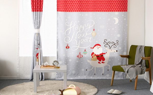 Luxdezine Blackout Curtains Christmas Theme Santa