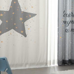 Luxdezine Blackout Curtains Gray Star