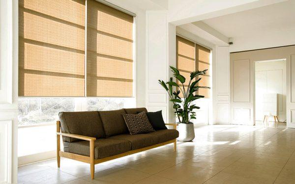 Luxdezine Blinds Roll Screen Shades Living Room Black Sofa Modern
