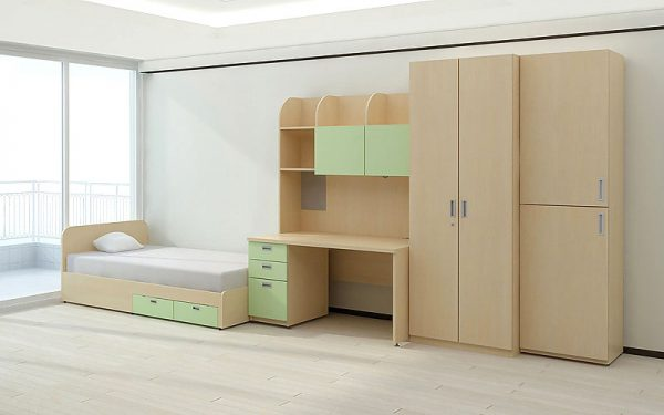 Luxdezine Dormitory Bed Table Cabinet Wood