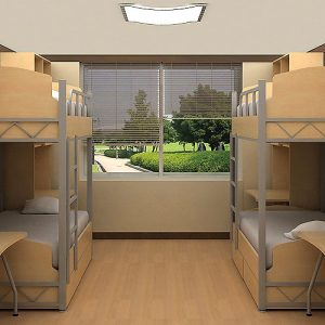 Luxdezine Dormitory Double Deck Bed Study Table Cabinet