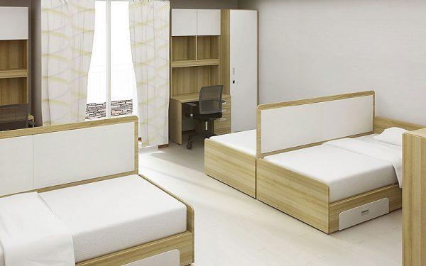 Luxdezine Dormitory Quadruple Bed Furniture Study Table Chair Cabinet