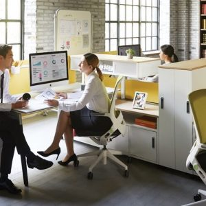 Luxdezine Employees Talking Modern Office Furniture
