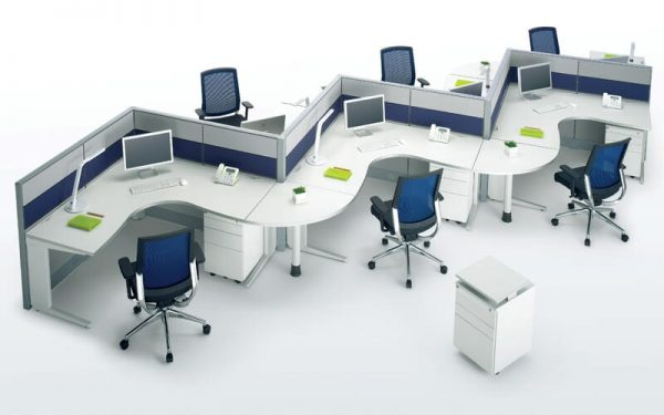 Luxdezine Empty Office Workstation White Background