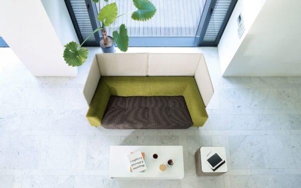 Luxdezine Green Brown White Sofa White Box Table