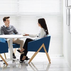 Luxdezine Man Employee Talking Woman Employee Sitting Office Chair