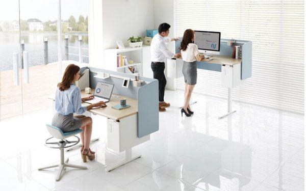 Luxdezine Modern White Height Adjustable Work Station