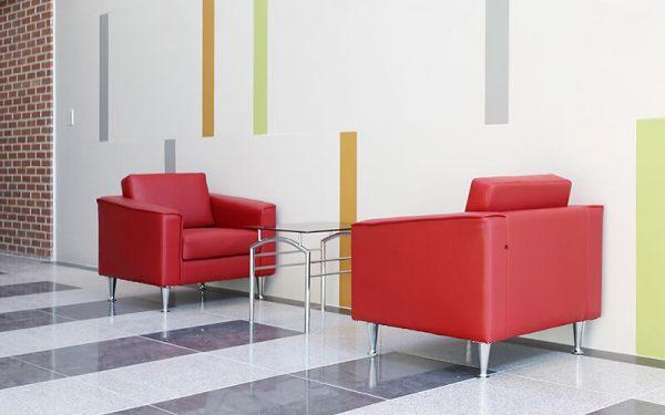 Luxdezine Red Sofa Glass Table