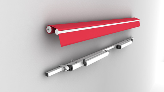 Luxdezine Retractable Awning 3D Red White Parts