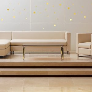 Luxdezine White Cream Sofa Glass Table