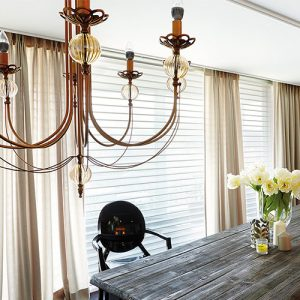 Luxdezine Window Blinds 3D Shade White Dining Room Interior
