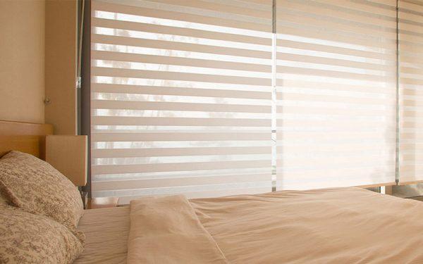 Luxdezine Window Blinds Combi Shades Bedroom White Close Half