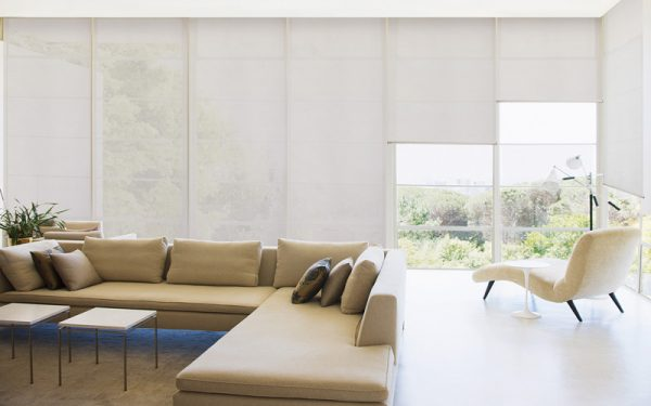 Luxdezine Window Blinds Roll Screen Shades Living Room White Feature