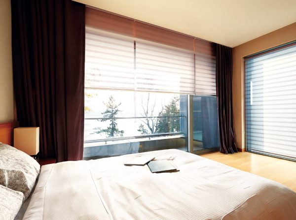 Luxdezine Window Blinds Roll Screen Shades White Bed Room