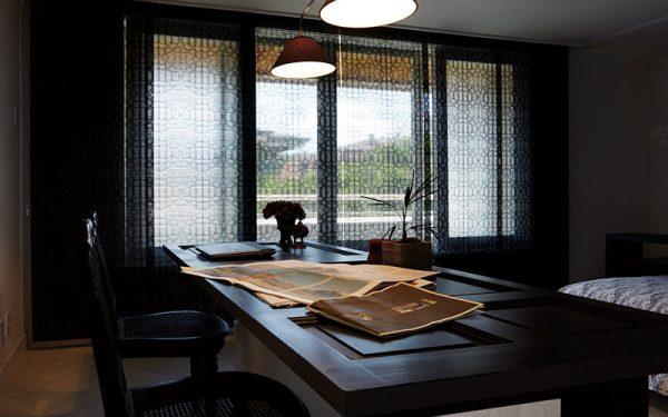 Luxdezine Window Blinds Rool Screen Black Living Room Far Right