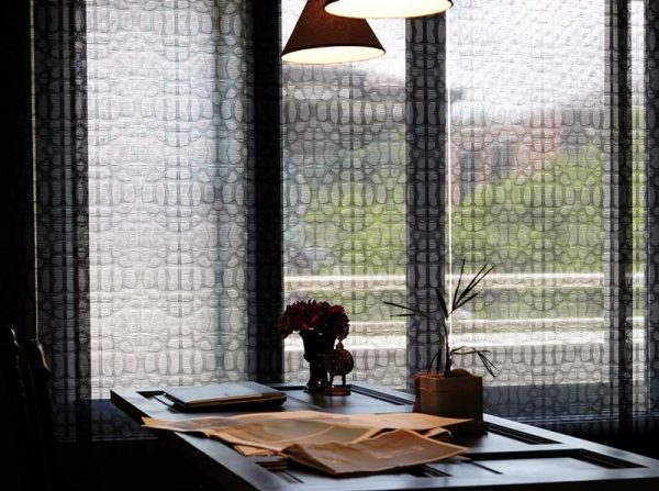 Luxdezine Window Blinds Rool Screen Shades Black Living Room Table